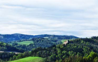 Blick von der Erasmuskirche zum Schloss